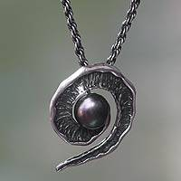 Black cultured pearl pendant necklace,