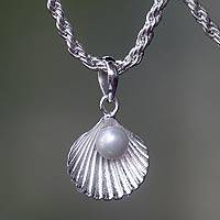 Cultured pearl pendant necklace, 'Gift from the Sea' - White Pearl and Sterling Silver Seashell Necklace