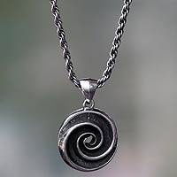 Sterling silver pendant necklace, 'Sea Spiral' - Oxidized Sterling Silver Pendant Necklace with Shell Motif