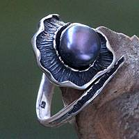 Black cultured pearl cocktail ring, 'Bit of Peel' - Sterling Silver Fruit Peel Cocktail Ring with Black Pearl