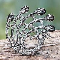 Cultured freshwater pearl brooch pin, 'Magnificent Peacock' - Peacock Brooch Pin in Sterling Silver with Black Pearls