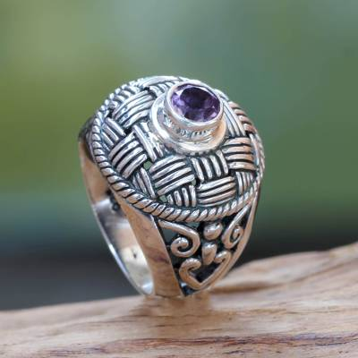 Woven Look Sterling Silver Cocktail Ring with Amethyst