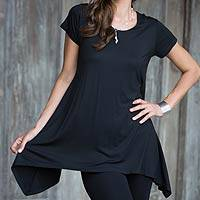 Modal tunic, 'Calla in Black' - Modal Black Short Sleeve Tunic with Round Neck