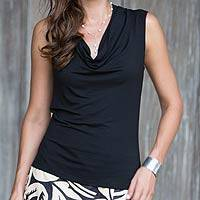 Modal top, 'Aster in Black' - Women's Black Sleeveless Modal Top with Cowl Neck
