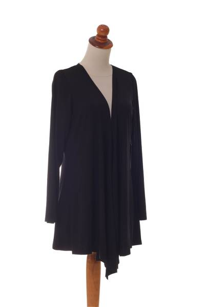 Modal cardigan, 'Black Heliconia' - Black Modal Long Sleeve Open Cardigan with Front Tie Up