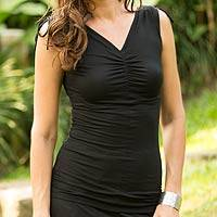 Modal top, 'Ylang Ylang in Black' - Ruched Black Sleeveless Modal Top with V-neck