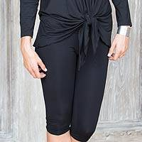Modal leggings, 'Black Begonia' - Black Women's Modal Knee-length Leggings from Indonesia