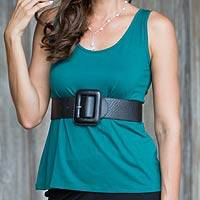 Modal top, 'Lotus Green' - Green Wrinkle Free Modal Tank Top for Women