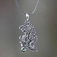 Men's peridot necklace, 'Dragon's Ball' - Men Fair Trade Jewelry Sterling Silver and Peridot Necklace