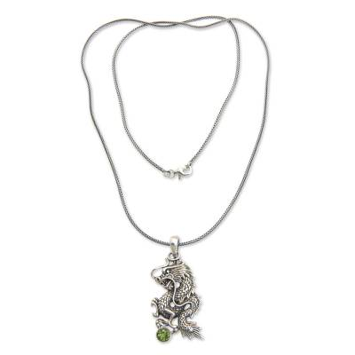 Men Fair Trade Jewelry Sterling Silver and Peridot Necklace