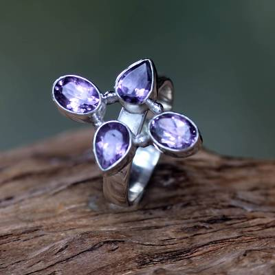 daisy silver ring worth - Amethyst on Sterling Silver Ring Fair Trade Balinese Jewelry