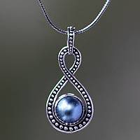 Cultured pearl pendant necklace, Infinite Blue