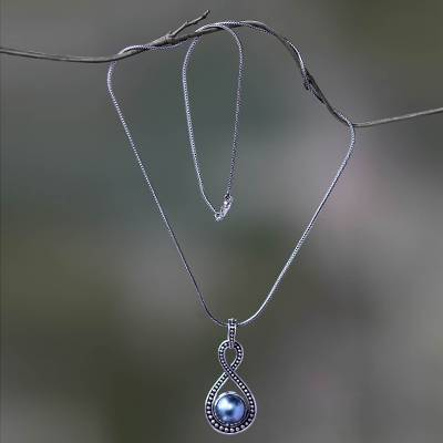 Cultured pearl pendant necklace, 'Infinite Blue' - Blue Mabe Pearl and Sterling Silver Pendant Necklace