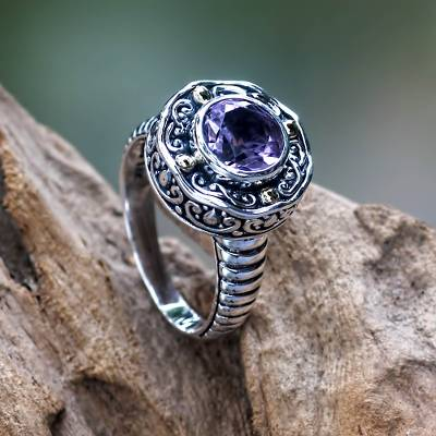 om ring silver vs lead - Handmade Balinese Cocktail Ring with Amethyst and 18k Gold