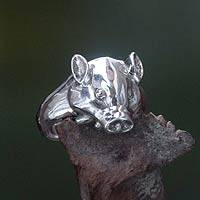 Men's sterling silver ring, 'Tusked Pig' (Indonesia)
