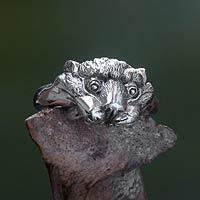 Men's sterling silver ring, 'Tiger Cub' - Handmade 925 Sterling Silver Tiger Cub Ring for Men