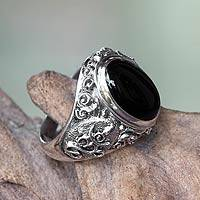 Men's onyx ring, 'Black Om Kara' - Handcrafted Onyx and Sterling Silver Om Ring for Men