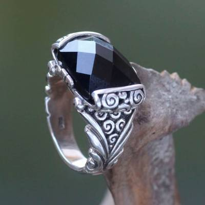 Onyx cocktail ring, 'Altar' - Women's Fair Trade Black Onyx and Sterling Silver Ring