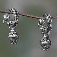 Sterling silver dangle earrings, 'Petit Monde' - Artisan Crafted Sterling Silver Dangle Earrings