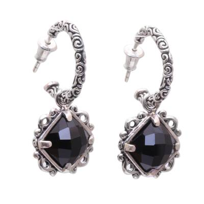 Elegant Black Onyx and Silver Dangle Earrings from Bali