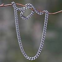 Men's sterling silver chain necklace, 'Freedom' - Men's Sterling Silver Chain Necklace from Bali