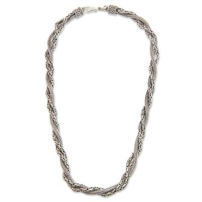 Fair Trade Borobudur Style Sterling Silver Torsade Necklace
