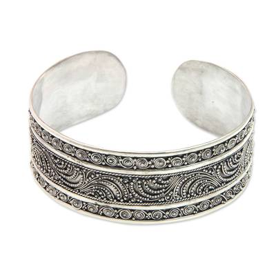 Fair Trade Sterling Silver Cuff Bracelet Crafted by Hand