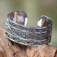 Sterling silver cuff bracelet, 'Midnight Lace'