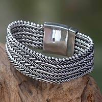 Men's wristband bracelet, 'Armor' - Sterling Silver Chainmail Bracelet for Men from Indonesia