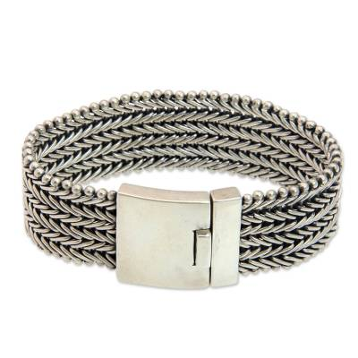 Sterling Silver Chainmail Bracelet for Men from Indonesia