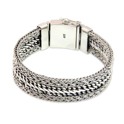 Handmade Braided Sterling Silver Wide Chain Bracelet