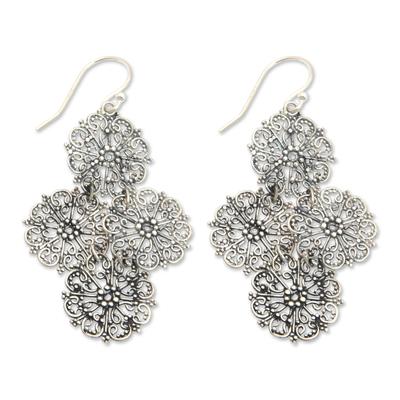Sterling Silver Handmade Filigree Floral Earrings from Bali