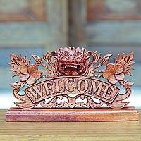 Wood welcome sign, 'Bhoma Welcome' - Hand Carved Wooden Welcome Sign with Balinese Deity