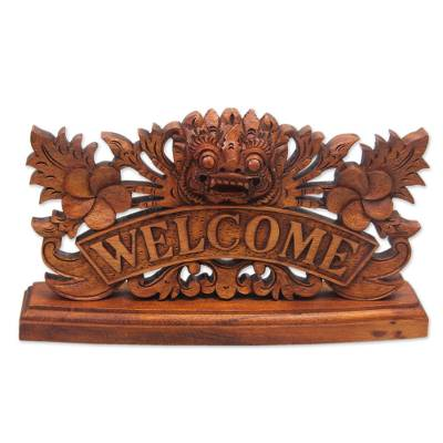 Hand Carved Wooden Welcome Sign with Balinese Deity