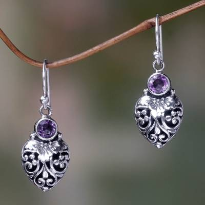 Amethyst dangle earrings, 'Bali Strawberry in Purple' - Sterling Silver and Amethyst Gemstone Earrings from Bali