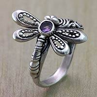 Amethyst cocktail ring, 'Little Dragonfly' - Handcrafted Sterling Silver Dragonfly Ring with Amethyst