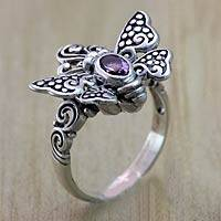 Amethyst cocktail ring, 'Monarch Queen' - Sterling Silver Butterfly Cocktail RIng with Amethyst