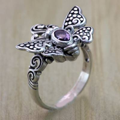 Sterling Silver Butterfly Cocktail RIng with Amethyst