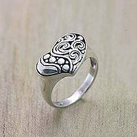 Sterling silver cocktail ring, 'Heart Rhythm' - Artisan Crafted Sterling Silver 925 Heart Cocktail Ring