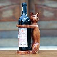 Wood bottle holder, 'Wine-Loving Cat' - Hand Carved Wooden Cat Wine Bottle Holder