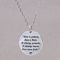 Sterling silver pendant necklace, 'Love Wise' - Inspirational Love Message Silver Pendant Necklace from Bali