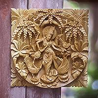 Wood relief panel, 'Saraswati' - Hindu Goddess Themed Carved Wood Relief Panel