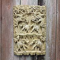 Wood relief panel, 'Jungle Romance' - Hand Carved Wood Relief Panel with Elephant Theme