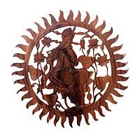 Wood relief panel, 'Relaxing Krishna' - Hand Carved Round Krishna Wood Relief Wall Panel from Bali