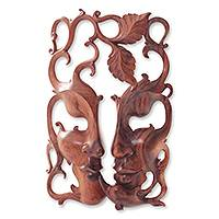 Wood mask, 'Three Good Relationships' - Handcrafted Wood Decor Wall Mask from Bali