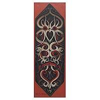 'Dayak Shield II' - Indonesian Fine Art Painting of Dayak Tribal Shield
