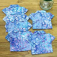 Cotton coasters, 'Rushing River' (set of 6) - Handmade Coasters Upcycled from Cotton Kimonos (set of 6)