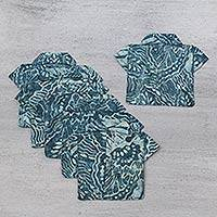 Cotton coasters, 'Blue Forest' (set of 6) - Blue Cotton Print Coasters Handmade in Bali (set of 6)