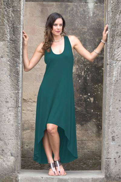 Modal dress, 'Emerald Frangipani' - Green Sleeveless Modal Dress with High-Low Hem