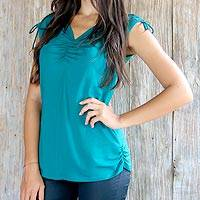 Modal top, 'Ylang Ylang in Green' - Ruched Green Sleeveless Modal Top with V-neck